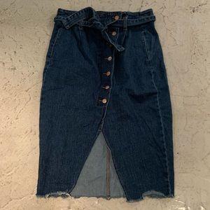 ZARA denim pencil skirt L high paper bag waist